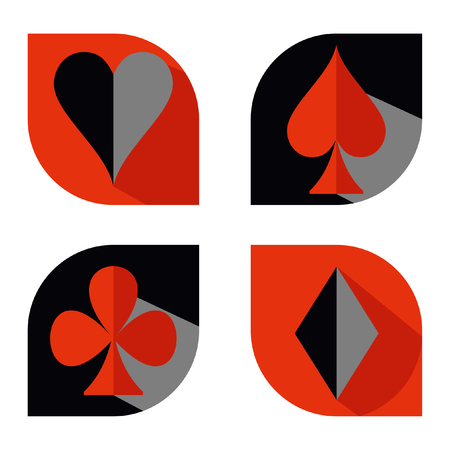 Set of vector playing card suit icon symbols. Red and black flat. Hearts, Spades, Diamonds, Clubs.