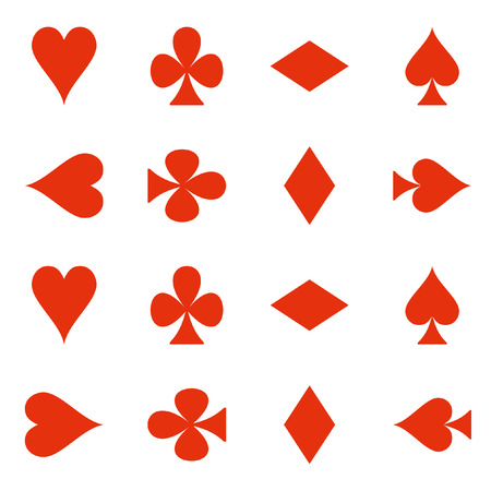 Suit of playing cards. Vector illustration red symbols isolated on white background Illustration