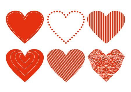 Set of red vector hearts icons isolated on white Ilustração