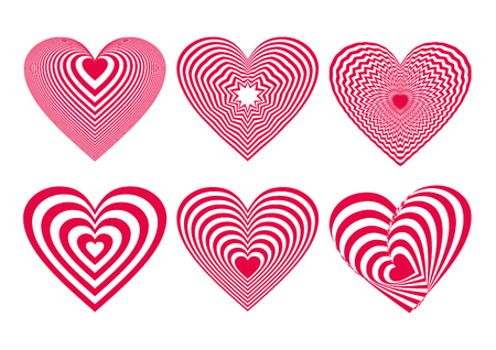 Neon Red Heart Icons Set, ideal for valentines day and wedding. Vector illustration isolated on white Ilustração
