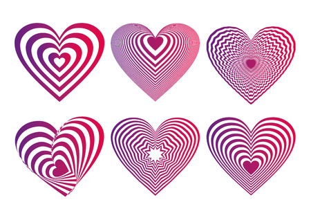 Ultra violet and neon red gradient Heart Icons Set, ideal for valentines day and wedding. Vector illustration isolated on white. Ultra violet, color of the Year 2018