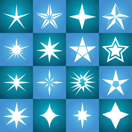 Stars vector icon background set blue color. Winter white Christmas snow flake crystal element. Weather illustration ice collection. Xmas frost flat, isolated silhouette symbol Ilustrace