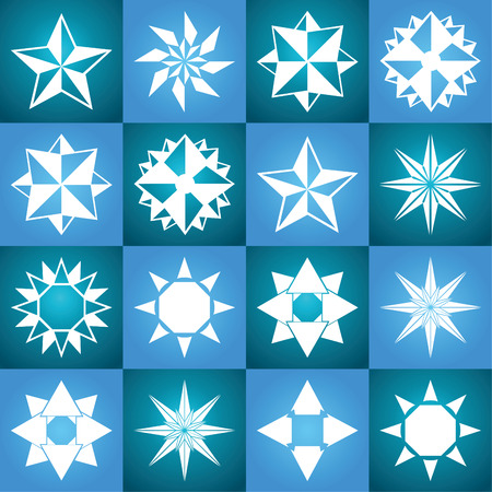 Stars vector icon background set blue color. Winter white christmas snow flake crystal element. Weather illustration ice collection. Xmas frost flat isolated silhouette symbol 向量圖像