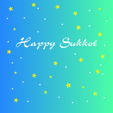 Happy Sukkot. Sukkah At Night. Sukkah night sky with stars. Happy Jewish Holiday Sukkot for decoration and covering on blue gradient background. Illustration