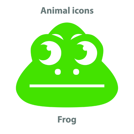 Frog face in cartoon flat style. Animal Faces Vector illustration Series. Cartoon Character Isolated on White. For web banner,  fabric print.