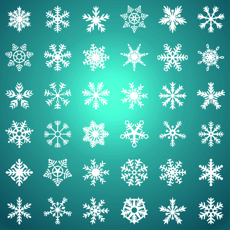 Snowflake vector icon gradient background set blue color. Winter white christmas snow flake crystal element. Weather illustration ice collection. Xmas frost flat isolated silhouette symbol