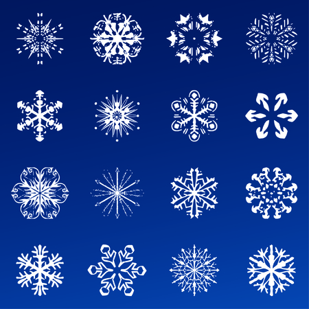 Snowflake vector icon background set blue color. Winter white christmas snow flake crystal element. Weather illustration ice collection. Xmas frost flat isolated silhouette symbol Çizim