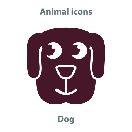 Dog face in cartoon flat style. Animal Faces Vector illustration Series. Cartoon Character Isolated on White. For web banner, fabric print. 일러스트