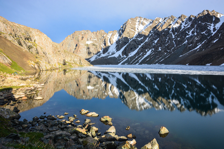 Wonderful mountain landscape with reflection (lake, highland, peak, beauty world) Picturesque view, Tian-Shan, Karakol, Kyrgyzstan