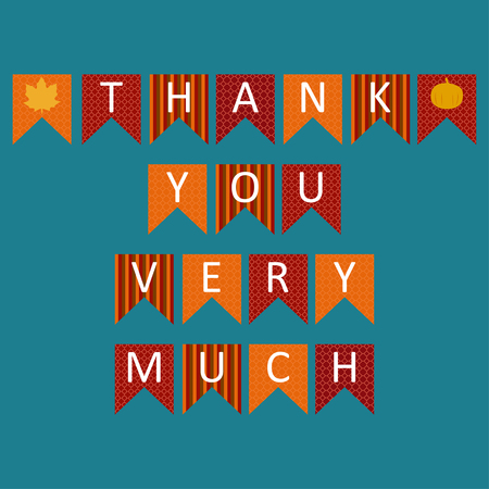 Thank you very much sign text in triangle colorful Icon. Celebration quotation for card vector illustration. Modern design poster with leaves and pumpkin. For shop, web, business, flyers, and post. Çizim
