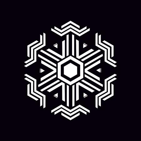 Archivio Fotografico - Elemento rombo geometrico fatto di rettangoli radianti. Simbolo segreto della geometria. Forma astratta di esagono. Sfondo nero. Per il design di volantini, brochure, opuscoli e siti web.