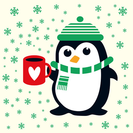 Funny cute penguin in green hat For baby and nursery Christmas fabric, party invitations, as well as holiday projects. Snowflakes background.