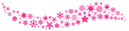 Snowflake pink wave. Flake crystal element. Winter snow gift card or paillette wind. Glitter trail or confetti burst line.