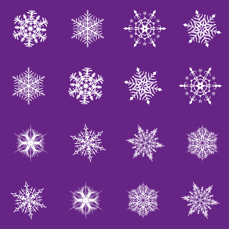 Snowflake vector icon background set proton purple color. Trend 2019. Winter white christmas snow flake crystal element. Weather illustration ice collection. Xmas frost flat isolated silhouette symbol Banque d'images - 112845396