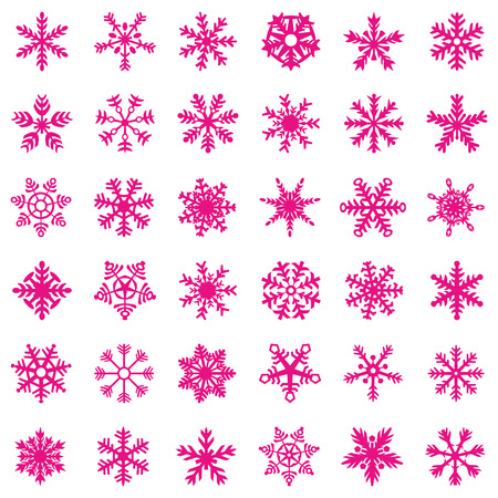 Snowflake pink icon. Trend 2019. Winter white christmas snow flake crystal element. Weather illustration ice collection. Xmas frost flat isolated silhouette symbol Banque d'images - 112845419