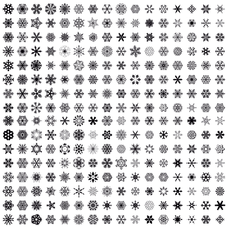 Big snowflakes collection vector icon set black background color. 256 graceful snowflakes. Graphic crystal frozen decoration. New year banner, cards.