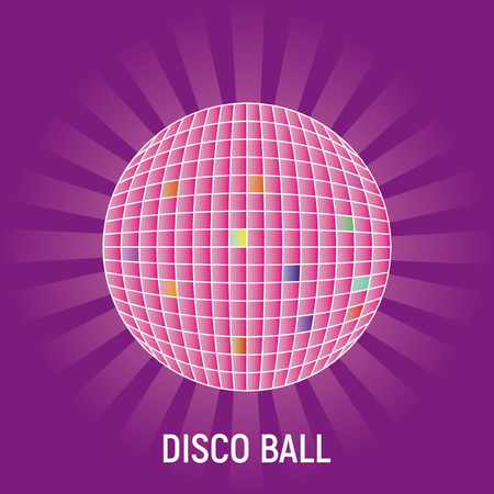 Disco ball with rays on purple background.