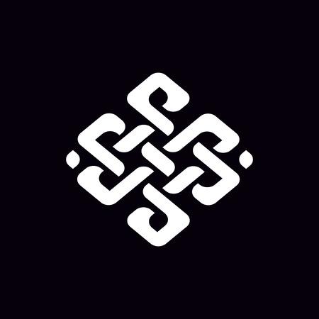 Beau dessin au trait d'ornement. Motif solide isolé sur noir. Texture géométrique monochrome de nœud abstrait moderne. Fond illusoire. Conception pour la décoration, les couvertures, les impressions.