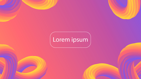 Futuristic gradient geometric background. Liquid color wallpaper design. 3d wavy shapes abstract background. Vibrant flowing curves. Trendy composition.