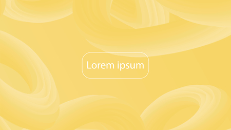 Futuristic gradient geometric background. Liquid color wallpaper design. 3d wavy shapes abstract background. Vibrant flowing curves. Trendy yellow composition. Illustration