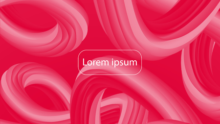 Futuristic crimson gradient geometric background. Liquid color wallpaper design. 3d wavy shapes abstract background. Vibrant flowing curves. Trendy bright red and pink composition.