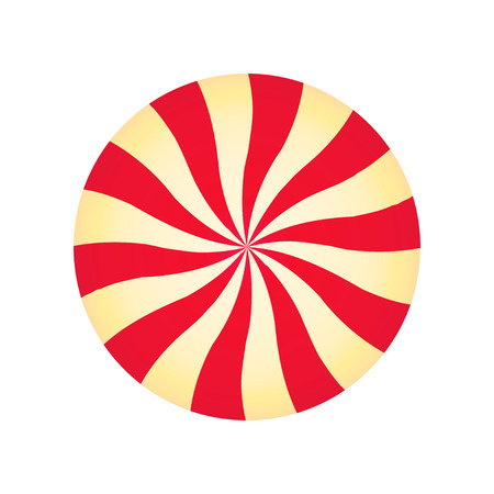 Peppermint cream candy. Spiral red and yellow form. Sweet shop design. Vector illustration isolated on white.