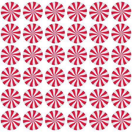 Peppermint cream candies background. Spiral red and white repeated form. Sweet shop design. Vector illustration.