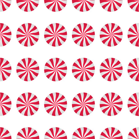 Peppermints Candies Cream Seamless Vector Pattern. Red and White Swirls Isolated on white background. Christmas Candy Illustration