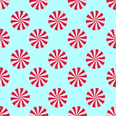 Peppermints Candies Cream Seamless Vector Pattern. Red and White Swirls Isolated on blue background. Christmas Candy Illustration