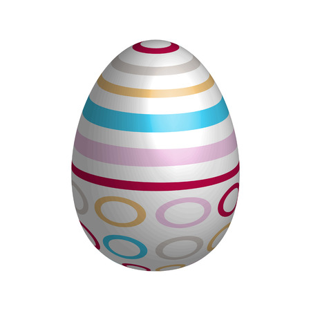 Easter egg isolated on white background with colorful stripes, circles and plastic shading.