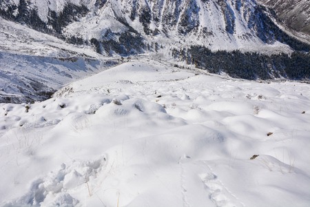 Top view on snowy hills and valley. Winter beauty backdrop. Snowdrift background.
