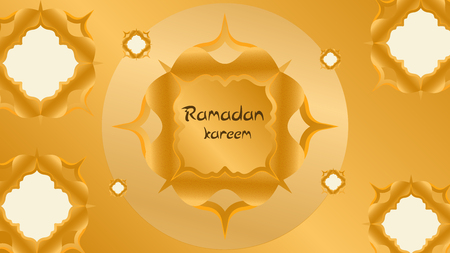 Ramadan kareem with golden luxurious pattern, template islamic ornate greeting card vector Banco de Imagens
