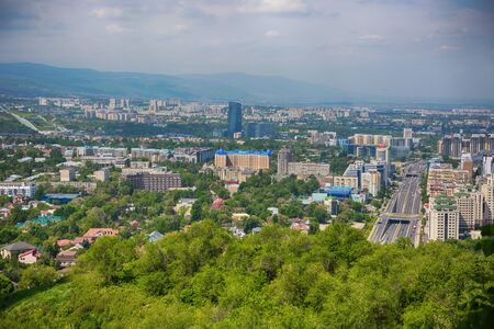 Panoramic view of residential area of Almaty, Kazakhstan
