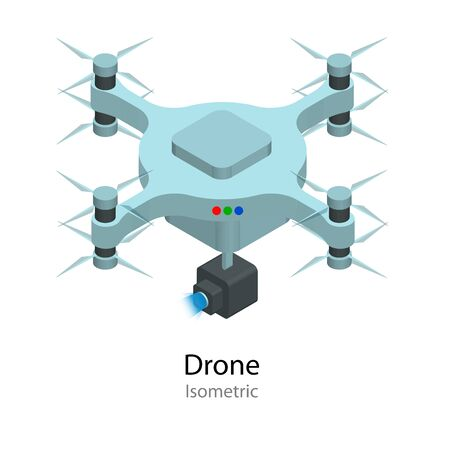 Isometric illustration Drone with action camera. Fly devices icon. Professional Electronic Device. Çizim