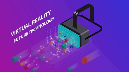 Isometric Virtual Reality Concept. Flat Design Template for mobile app and website. VR headset. Blue and purple Gradient Background.