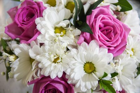 Bouquet of flowers. Close up wedding white and pink colors. Selective focus. Stock fotó