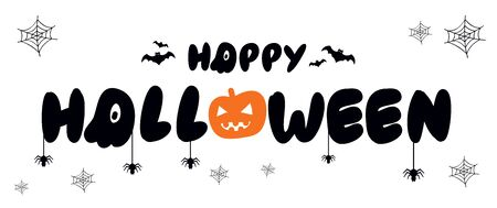 Vector poster with type of Happy Halloween, pumpkin with bat, spider and web on white background. For banner, greeting card, party invitation, postcard, typography poster.
