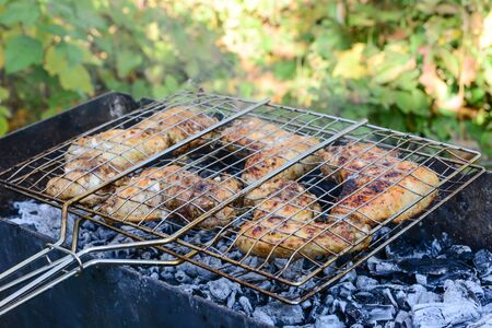 BBQ chicken wings on smoking grill over hot coals.