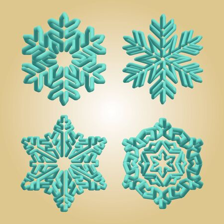 Turquoise snowflakes. Winter christmas snow flake crystal element. Weather illustration ice collection. Xmas frost flat isolated silhouette symbol on gold gradient background. Archivio Fotografico - 133360561