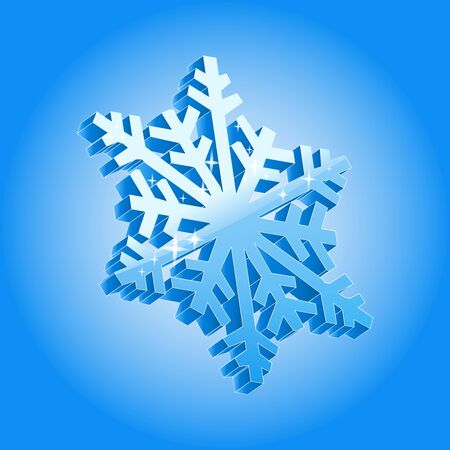 3d snowflake isolated on blue gradient background.