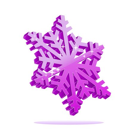 3d purple snowflake isolated on white gradient background.
