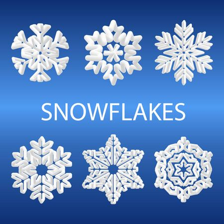 Vector 3d snowflake icon collection isolated on gradient blue background. New year and Christmas design element.