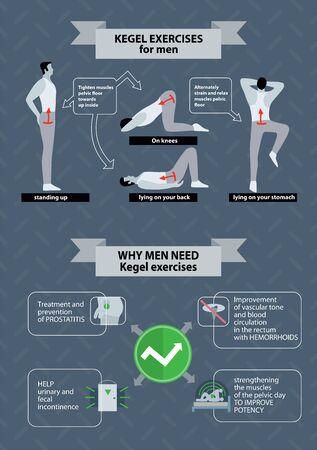 Pelvic floor exercises for men. Kegel gymnastics illustrarion on grey background. Mans health concept. Illusztráció