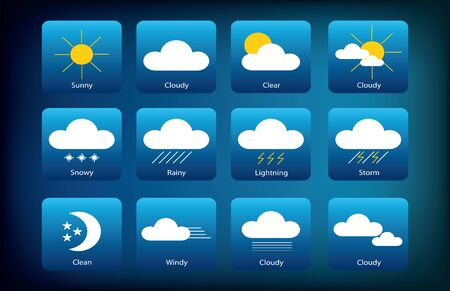 Set of Weather Icons. Meteorology illustrations isolated on dark blue gradient background. Archivio Fotografico - 135425405
