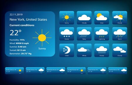 Set of Weather Icons. Meteorology illustrations isolated on dark blue gradient background.