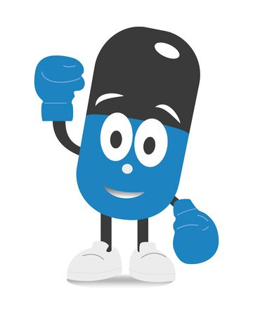 Blue capsule characters with shadows. Strong guard pill in boxing gloves. Flat cartoon character illustration icon design. Isolated on white background. Medical and health concept. Archivio Fotografico - 135425425