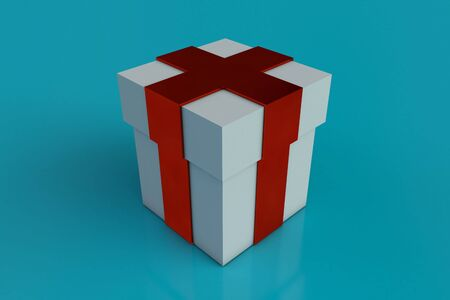 White gift box with red ribbon bow isolated on aqua blue background. Reflection. Copy space. 3d render. Archivio Fotografico - 135120707