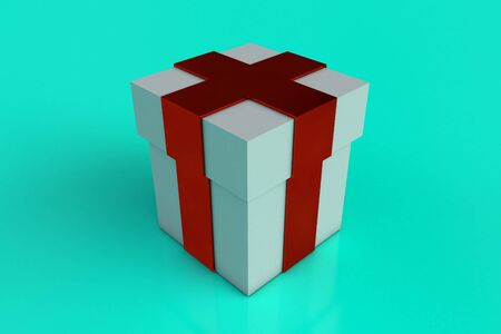 White gift box with red ribbon bow isolated on turquoise background. Reflection. Copy space. 3d render. Archivio Fotografico - 135120652