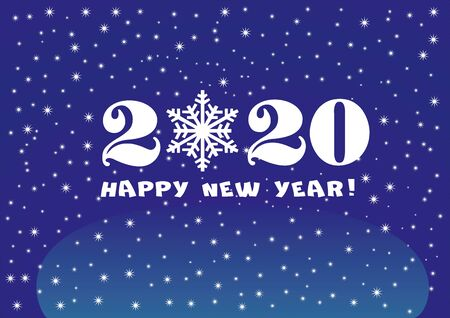 2020 Happy New Year classic blue background with white stars and snowflakes for your Seasonal Flyers and Greetings Card or Christmas.