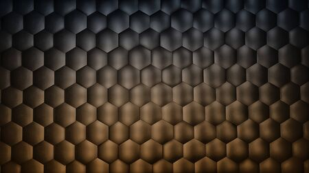 Abstract dark gradient gold hexagon background with metal texture. Polygonal surface. Futuristic technology concept. Hex geometry pattern. 3D Rendering. Archivio Fotografico - 136155227